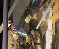 Brand an Fassade von Wettbüro