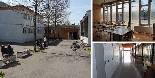 Umgebaute Büros, Container und eine Messehalle als Klassenräume