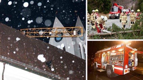 Heftige Sturmböen fegten übers Ländle - Kran fiel auf Kirchendach