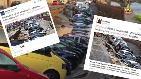 200 Meter langes Erdloch verschluckt Autos in Florenz