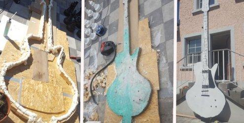 Gitarrenfan Thomas Güfel baute eine beleuchtete Riesengitarre aus Beton