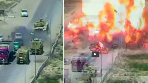 Panzer überfährt Attentäter: Es folgt eine Mega-Explosion